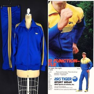 80's Asics Tiger Classic Polyester Track Suit L